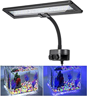 Hygger Blue White LED Aquarium Light Clip on Small Led Light for Planted Saltwater Freshwater Fish Tank with Gooseneck Clamp