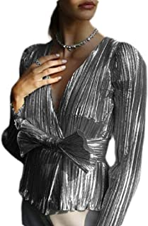 MK988 Women V Neck Wrap Metallic Long Sleeve Shirts Blouse Tops with Bow Tie