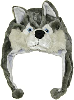 Cute Animal Hat- Plush Husky Timber Wolf Animal Winter Hat