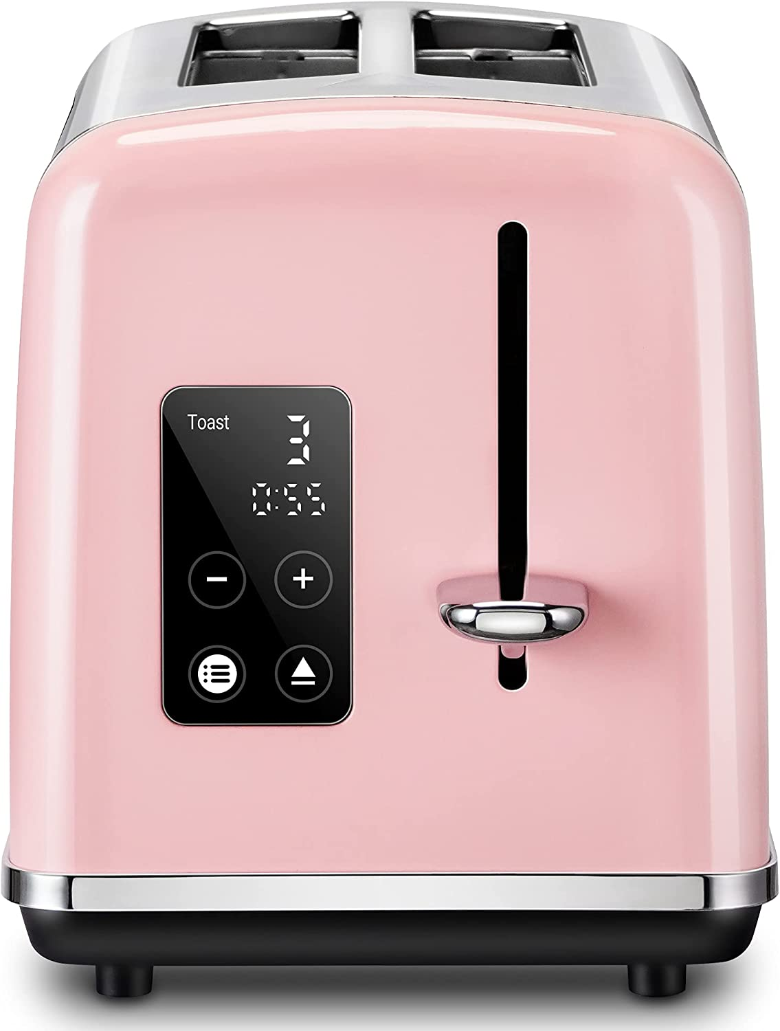 REDMOND Toaster 2 Slice, Pink Toasters Full Touch LED Display, Stainless Steel with Extra Wide Slot and Cancel Defrost Reheat Function, 6 Shade Settings, ST039