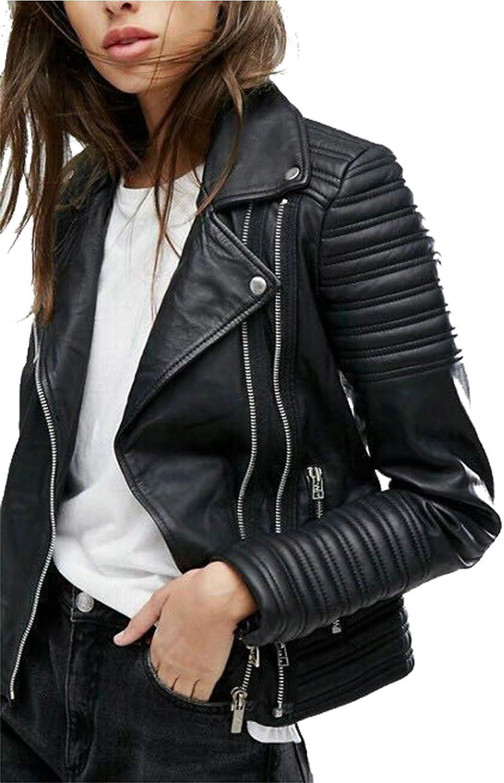 Women Smooth Motorcycle Faux Leather Jackets Ladies Long Sleeve Autumn Winter Biker Streetwear Black Pink Coat