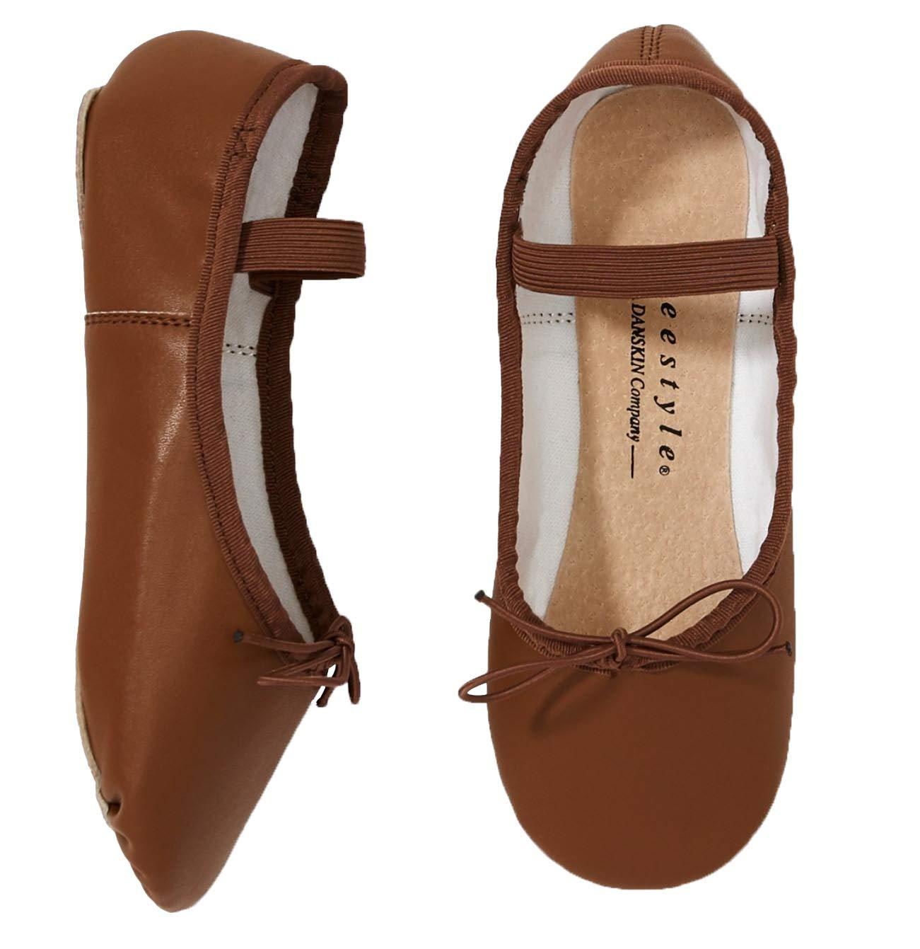 Danskin Girls' Ballet Slippers- (Brown