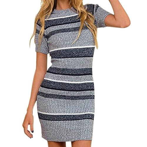 50bb3959f8b Chnli Women s Striped Round Neck Short Sleeve Bodycon Knit Jumper Sweater  Dress