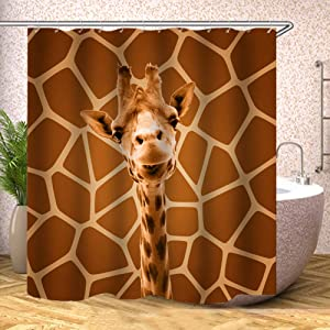 Fabric Shower Curtain, Giraffe Cute with Same Brown Background Polyester Designer Cloth, Print Decorative Bathroom Curtains Include Hooks Set (1206)