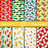 8 Pieces Fruits Print Fabric Watermelon Pineapple Strawberry Fat Quarters Sewing Fabric Bundles 19.7 x 19.7 Inches Summer Fabric Assorted Fruits Theme Fabric for DIY Sewing Patchwork Craft