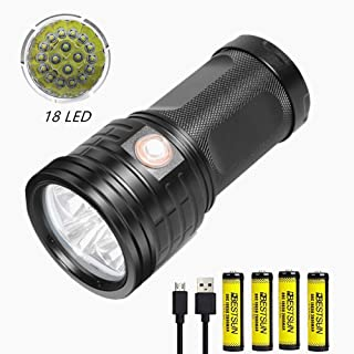 BESTSUN Super Bright Flashlight 18x XML-T6 LED 18000 Lumen Tactical Flashlight USB Rechargeable Handheld Flashlight 3 Modes Waterproof Torch with Power Bank Function for Camping