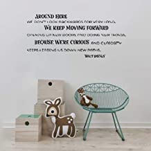 jaduen Wall Sticker Quote Around Here We Don't Look Backwards for Very Long. We Keep Moving Forward Opening New Doors and Doing New Things Walt Disney Vinyl Wall Decal Inspirational Motivational