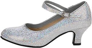 XFentech Ladies Sequin Round Toe Women's Ballroom Latin Tango Dance Pumps Shoes