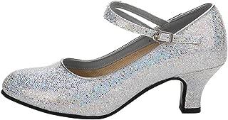 KINDOYO Ladies Sequin Round Toe Ballroom Latin Tango Dance Pumps Shoes Women's