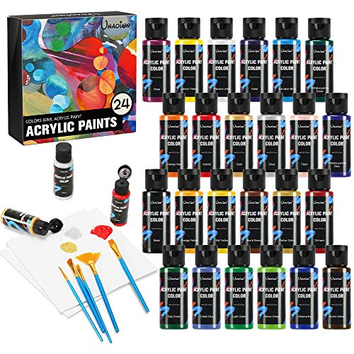 "Acrylic panit Set 24 Colors (60ml,2oz) Professional Painting Supplies Set, Includes 24 Acrylic Paints, 10 Painting Brushes and 2pcs 8""×8"" Canvas for Kids, Artists and Students (24 Color)"