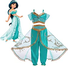 Girls Aladdin's Lamp Jasmine Princess Costumes Cosplay for Children Halloween Party Belly Dance Dress Indian Princess Costume