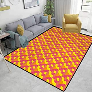 Abstract Living Room Rugs Geometric Dimension Pattern with Cube Prisms Hipster Fashion Graphic Dining Room Home Bedroom W71 x L110 Earth Yellow Hot Pink