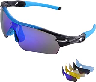 d20b78ac64a2 Kerter Polarized Sports Sunglasses Driving Glasses UV400 with 5  Interchangeable Lenes for Men Women Cycling Running
