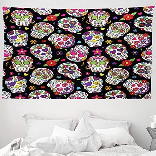 ABAKUHAUS Zuckerschädel Wandteppich & Tagesdecke, Mexiko Themed Entwurf, aus Weiches Mikrofaser Stoff Wand Dekoration Für Schlafzimmer, 230 x 140 cm, Mehrfarbig