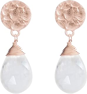 Kate Drop Earrings in Moonstone and Rose Gold