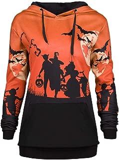 DongDong Women Halloween Sweatshirt, Wizard Moon Bat Printed Halloween Drawstring with Pocket Hoodie