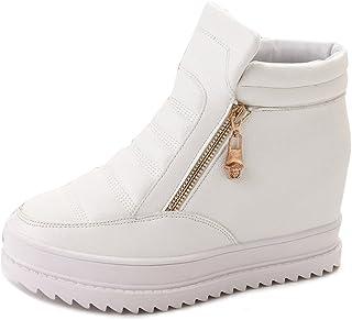 Gaorui Women's Anti-Slip Slip On Hidden Wedge Sneakers Zipper Platform Elevator High Heels Shoes