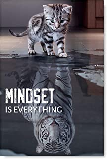 Mindset is Everything Poster Art Funny Cat Illustration Inspirational Poster Motivational Art Unframed Room Decor Printed Art Picture Mindset is Everything Cat 24