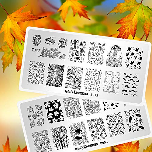 Whats Up Nails - Fall Stamping Plates 2 pack (B033, B053) for Autumn...