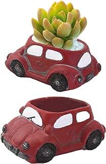 2Pcs Car Shaped Succulent Flower Pot Colored Cement Plant Pot Cactus Plant Pot Flower Pot Container Planter Bonsai Pots with A Hole for Home Garden Red Office Desktop Decoration(Red)