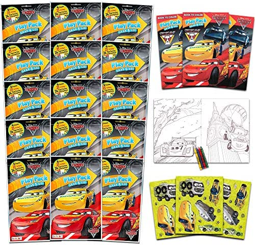 Bendon Set of 15 Kids Play Packs Fun Party Favors Coloring Book Crayons Stickers Disney Cars product image
