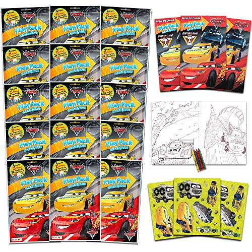 Bendon Set of 15 Kids Play Packs Fun Party Favors Coloring Book Crayons Stickers (Disney Cars)
