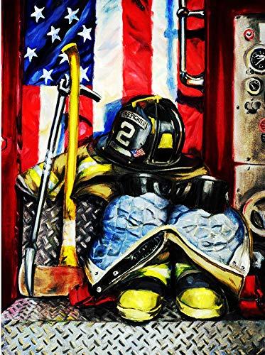Pintar por Numeros DIY Cuadro al leo con nmeros para Kit de Pintura al leo Digital para Adultos y nios de Lienzo decoracin para el hogar Equipo de disfraz de bombero de bandera estadounidense