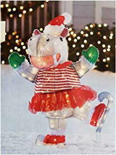 Ice Skating Hippo in Tutu Santa Hat Lighted Outdoor Christmas Decoration 34