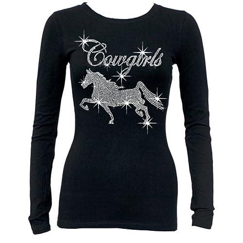 ddbe2985ba3 Rhinestone Cowgirls Horse Long Sleeves T-Shirt Juniors S-3XL Black