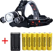 LED Rechargeable 7000 Lumens Headlamp Flashlight,Kit with 6PCS 3.7V 9800mAh Rechargeable Battery + Batteries Charger For Camping,Hiking, Outdoors