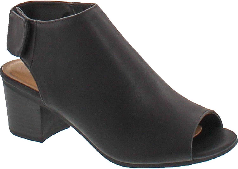 City Classified Soda Women's Harlyn-S Leatherette Cutout Peep Toe Booties,Black Pu,5.5
