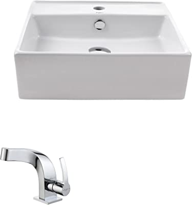 Transolid TL-1610-01 Quincy Vitreous China Bathroom Vessel Sink 18.5 L X10.675 W X4.75 H White