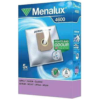 Menalux 4600 - Pack de 5 bolsas sintéticas y 1 filtro para aspiradoras Clatronic, Fagor y Ufesa Mini Mousy, Froggie y Boggi: Amazon.es: Hogar