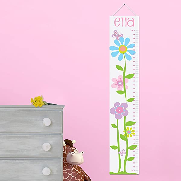 Personalized Growth Chart For Girls Butterflies And Blooms Children Nursery Baby Room Decor Wall Decals Vinyl Sticker