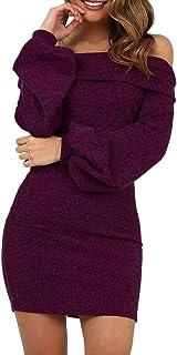 f21ddfb4d5b Fainosmny Women Dress Off Shoulder Dress Christmas Dress Lantern Sleeve  Slim Pullover One-Shoulder Dress