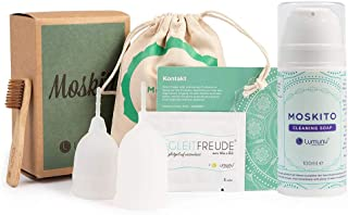 Venize Deluxe menstruationsset moskito med 2 menstruationsmuggar och rengöringssval, från Venize