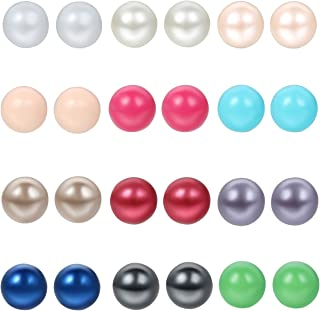 24pcs Stainless Steel Colorful Imitation Pearl Round Ball Earring Studs,Hypoallergenic
