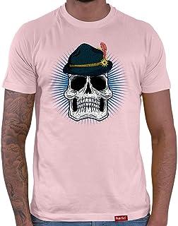 HARIZ Herren T-Shirt Totenkopf Mit Wiesnhut Oktoberfest Lederhosn Plus Geschenkkarte