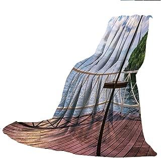 Super-Thick Flannel Warm Sofa or Bed Blanket,Modern Decor,Balcony Porch Sea Ocean View in Trinidad and Tobago Island Tropic Photo Image,Multicolor,39.37