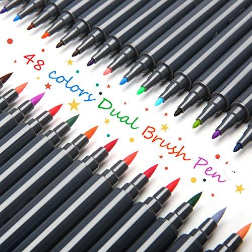ARTISTORE Pincel de Agua para Dibujos a Color, Punta de Pincel Real,Set de 48 Colores para niños, Pintura, Libros para Colorear, Manga, cómics y caligrafía.