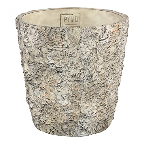 PTMD plantenpot Joye Cream Cement XL/bloempot plantenpot in steen-look, van binnen geglazuurd - afmetingen: 30,0 x 30,0 cm