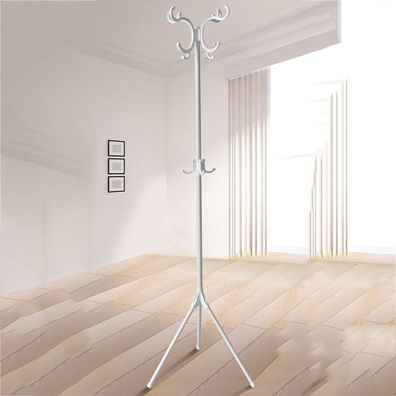 ZZHF yimaojia European Floorstanding Coat Rack Bedroom Simple Hangers Multifunction  Iron Art Storage Rack (2 colors Optional) (color   White)