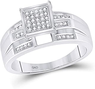 FB Jewels Sterling Silver Womens Round Diamond Square Bridal Wedding Engagement Ring 1/8 Cttw Size 7