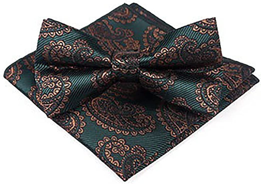 Licogel Bow Tie Vintage Decorative Polyester Soft Floral Portable Fashion Neck Bowtie Wedding Bow Tie with Pocket Square