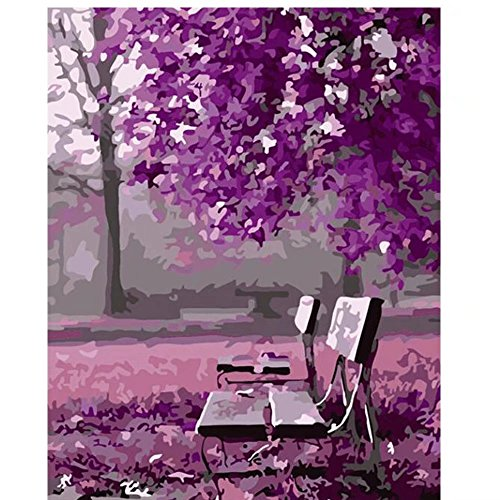 SUBERY DIY Oil Painting Drawing, Paint by Number Kit for Adults Girls Kids Gift - Purple World 16x20 inch (Frameless)