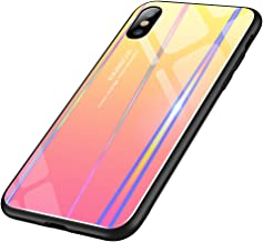 Chengming Compatible With iPhone X/XS Laser Aurora Color Gradient Tempered Glass Case Toughened Glass + TPU Framework Anti-Scratch Anti-Dropping Anti-Fingerprint Cas(iPhone X/iPhone XS,Pink to Yellow)
