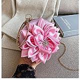 Bolso De Noche Mujeres Bolso De Noche De Flores Redondo De Embrague para Mujer Bolso Bolso De Fiesta De Boda Bolso De Hombro Elegante Vintage-Rosa
