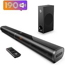 Soundbar for TV, Bomaker 190W 2.1 TV Sound Bar with Subwoofer, 125dB, 6 EQ Modes, LED Display Off, 5 Bass Adjustable Surro...