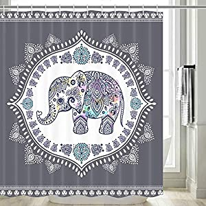 Elephant Shower Curtain, Ethnic Indian Arab Culture Symbol Mandala Fabric Elephant Shower Curtain, Elephant Decor for Bathroom, Hooks Included, 70 in