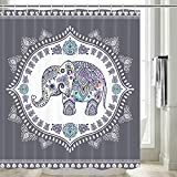 Elefanten-Duschvorhang, ethnischer Stil, Bohemian-Muster, kreatives Tier-Elefantengrau, Duschvorhang, Boho-Duschvorhang-Set, haltbarer wasserfester Stoff, Duschvorhanghaken, 175 x 178 cm